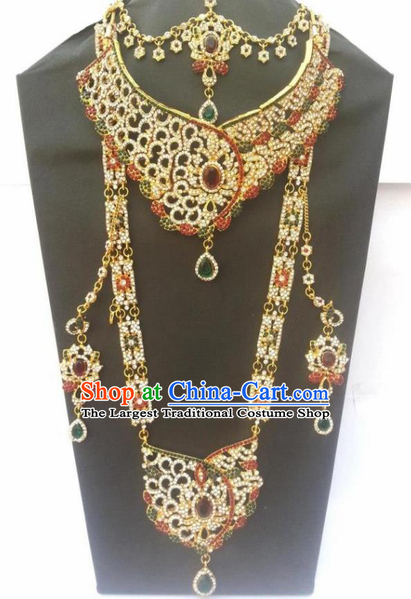Traditional Indian Jewelry Accessories Bollywood Princess Crystal Necklace Earrings and Hair Clasp for Women