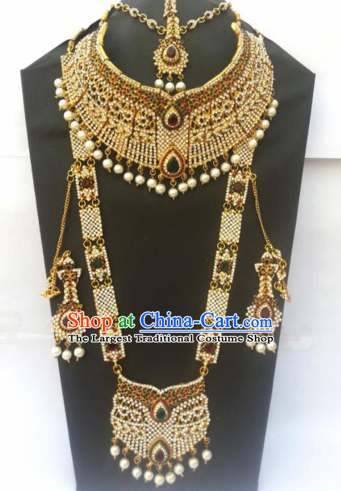 Traditional Indian Golden Jewelry Accessories Bollywood Princess Crystal Necklace Earrings and Hair Clasp for Women