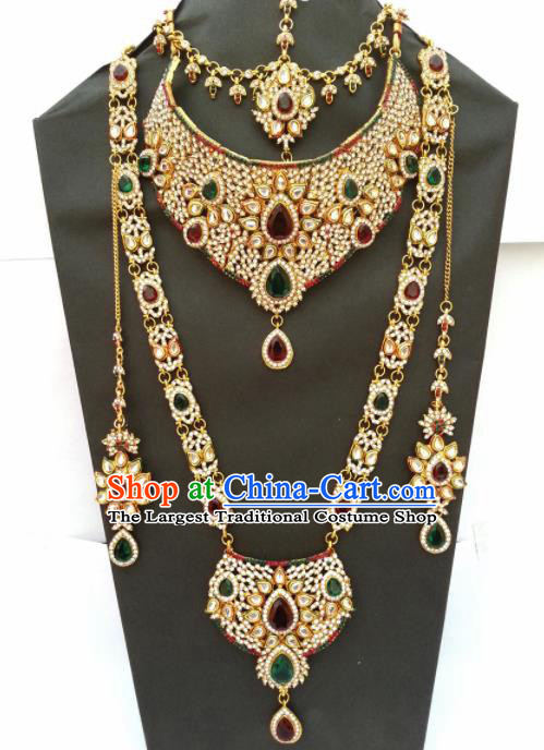 Traditional Indian Jewelry Accessories Bollywood Princess Colorful Crystal Necklace Earrings and Hair Clasp for Women