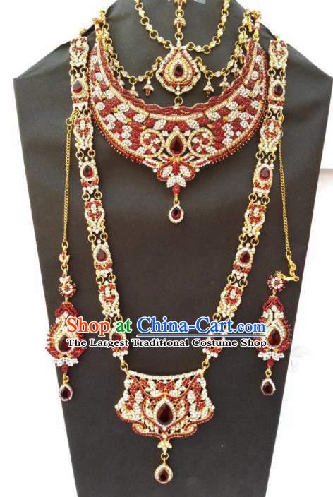 Traditional Indian Jewelry Accessories Bollywood Princess Red Crystal Necklace Earrings and Hair Clasp for Women