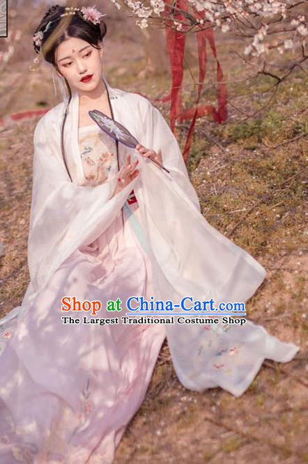 Chinese Traditional Song Dynasty Court Embroidered Hanfu Dress Ancient Imperial Consort Historical Costume for Women