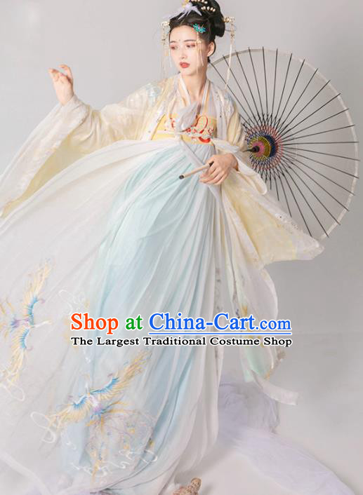 Chinese Traditional Tang Dynasty Court Princess Embroidered Hanfu Dress Ancient Imperial Consort Historical Costume for Women