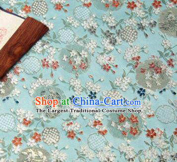 Chinese Traditional Hanfu Silk Fabric Pattern Design Light Green Brocade Tang Suit Fabric Material