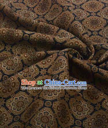 Chinese Traditional Pattern Design Satin Silk Fabric Deep Brown Song Brocade Tang Suit Drapery Material