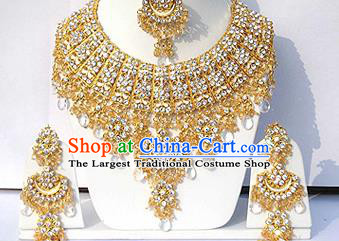 Traditional Indian Wedding Accessories Bollywood Princess White Beads Necklace Earrings and Hair Clasp for Women