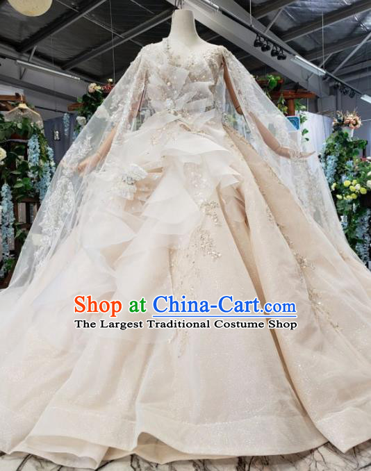 Top Grade Customize Bride Champagne Full Dress Court Princess Wedding Costume for Women