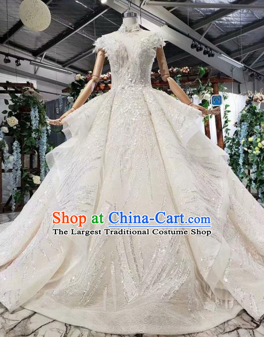 Top Grade Customize Bride White Sequins Trailing Full Dress Court Princess Wedding Costume for Women