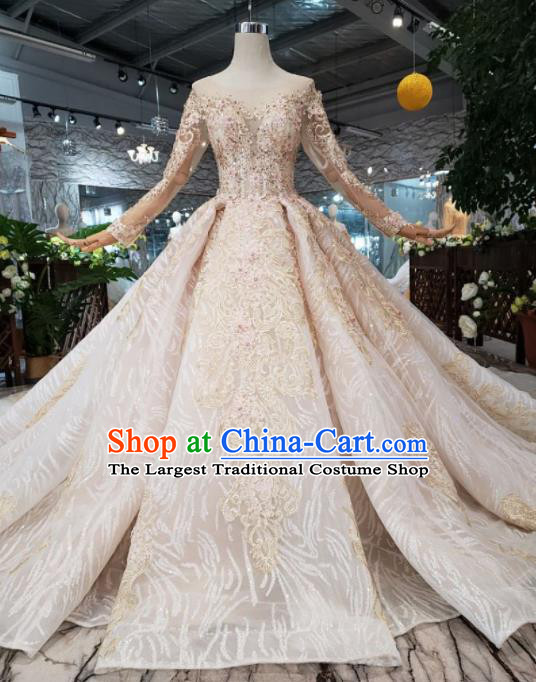 Top Grade Customize Bride Long Sleeve Trailing Full Dress Court Princess Wedding Costume for Women