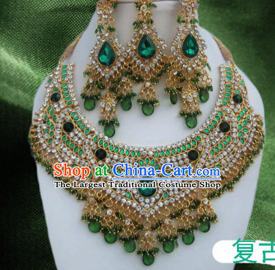 Traditional Indian Wedding Accessories Bollywood Green Crystal Necklace Earrings and Hair Clasp for Women