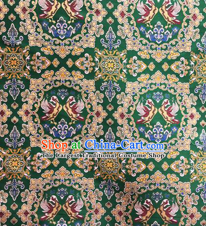 Chinese Traditional Pattern Design Silk Fabric Green Brocade Tang Suit Drapery Material