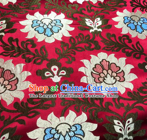 Chinese Traditional Hanfu Silk Fabric Classical Lotus Pattern Design Red Brocade Tang Suit Fabric Material