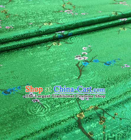 Chinese Traditional Hanfu Silk Fabric Classical Plum Blossom Pattern Design Green Brocade Tang Suit Fabric Material