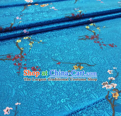 Chinese Traditional Hanfu Silk Fabric Classical Plum Blossom Pattern Design Blue Brocade Tang Suit Fabric Material