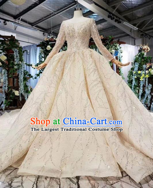 Top Grade Customize Bride Beige Trailing Full Dress Court Princess Wedding Costume for Women