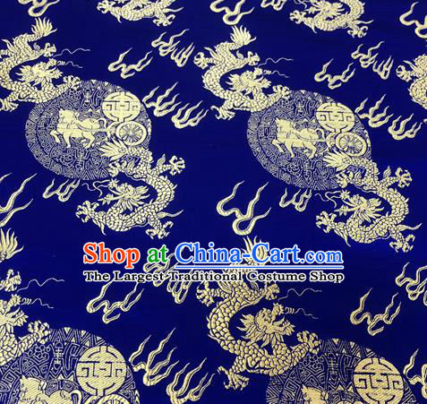 Chinese Traditional Hanfu Silk Fabric Classical Dragons Pattern Design Royalblue Brocade Tang Suit Fabric Material