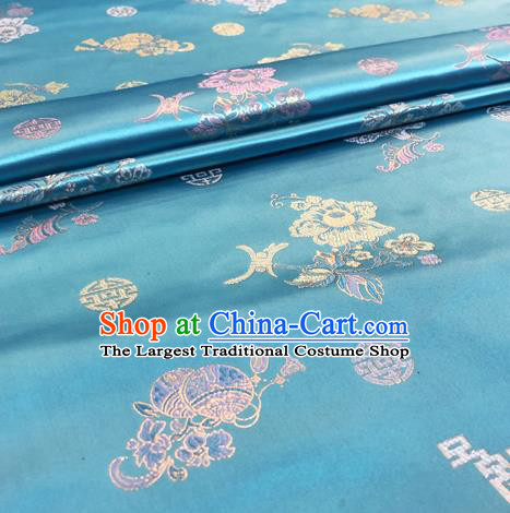 Chinese Traditional Hanfu Silk Fabric Classical Pattern Design Blue Brocade Tang Suit Fabric Material