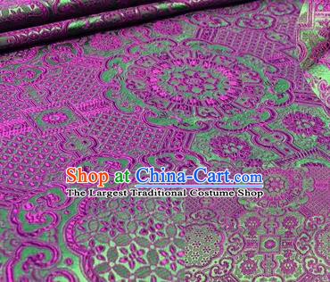 Chinese Traditional Hanfu Silk Fabric Classical Pattern Design Purple Brocade Tang Suit Fabric Material