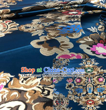 Chinese Traditional Hanfu Silk Fabric Classical Pattern Design Navy Nanjing Brocade Tang Suit Fabric Material