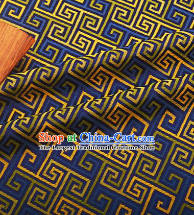 Chinese Traditional Svastika Pattern Design Silk Fabric Blue Song Brocade Tang Suit Drapery Material
