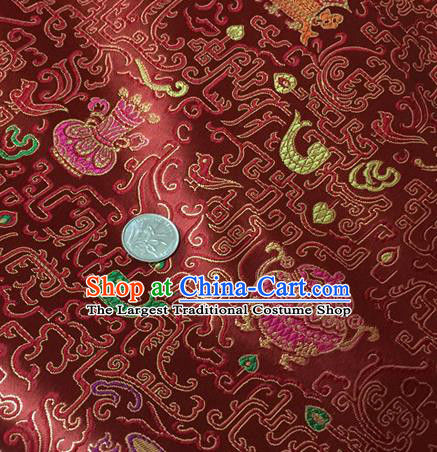 Chinese Traditional Hanfu Silk Fabric Classical Censer Pattern Design Purplish Red Brocade Tang Suit Fabric Material