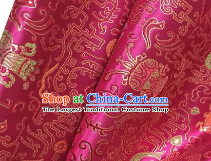 Chinese Traditional Hanfu Silk Fabric Classical Censer Pattern Design Rosy Brocade Tang Suit Fabric Material