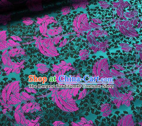 Chinese Traditional Hanfu Silk Fabric Classical Pattern Design Green Brocade Tang Suit Fabric Material