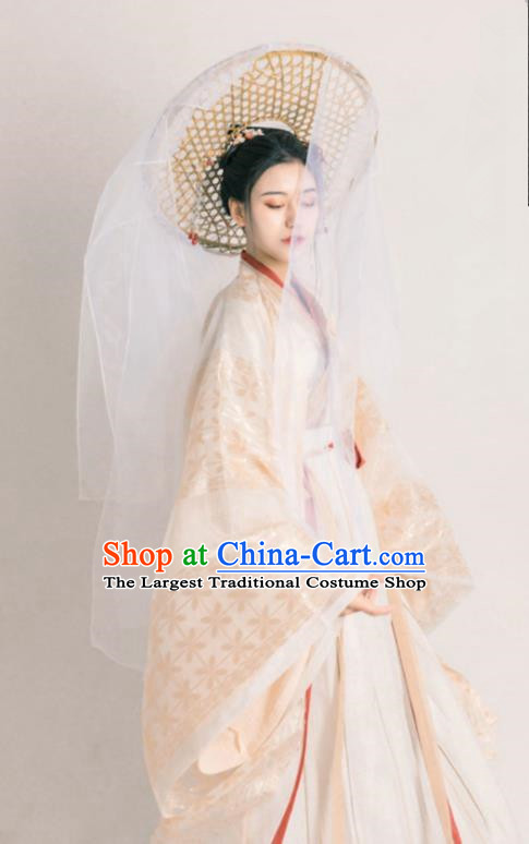 Asian Chinese Jin Dynasty Court Lady Historical Costume Ancient Royal Princess Traditional Hanfu Dress for Women