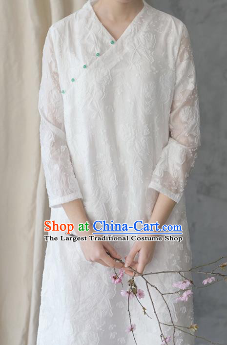 Chinese Traditional National Costume White Lace Qipao Dress Tang Suit Cheongsam for Women