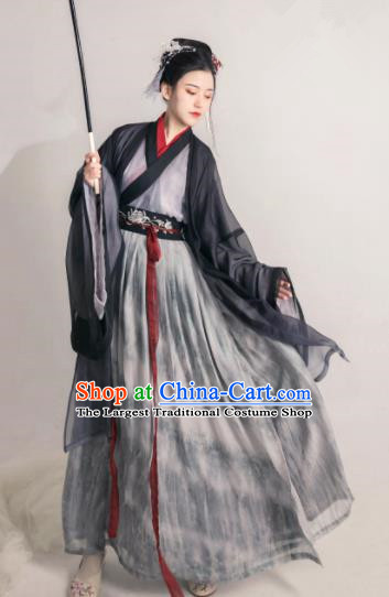 Asian Chinese Jin Dynasty Historical Costume Ancient Court Princess Traditional Hanfu Dress for Women