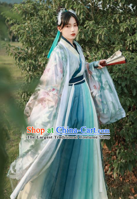 Asian Chinese Jin Dynasty Historical Costume Ancient Female Swordsman Traditional Hanfu Dress for Women