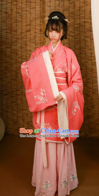 Traditional Chinese Han Dynasty Palace Princess Embroidered Hanfu Dress Ancient Drama Court Historical Costume for Women