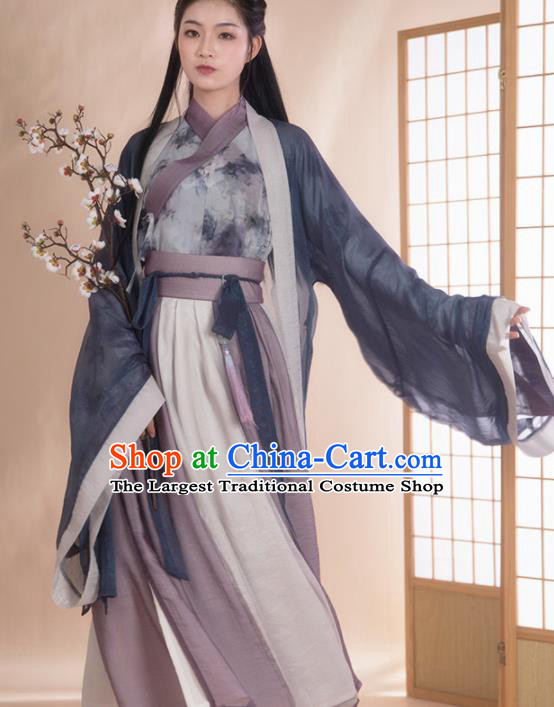 Chinese Traditional Jin Dynasty Historical Costume Ancient Swordswoman Hanfu Dress for Women