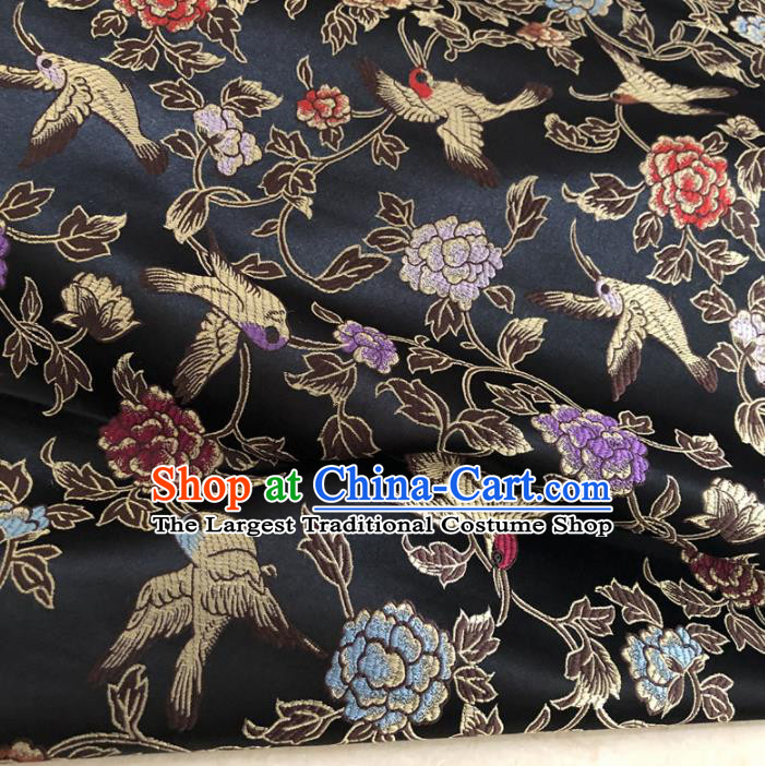 Asian Chinese Traditional Peony Birds Pattern Design Black Brocade Fabric Silk Fabric Chinese Fabric Asian Material