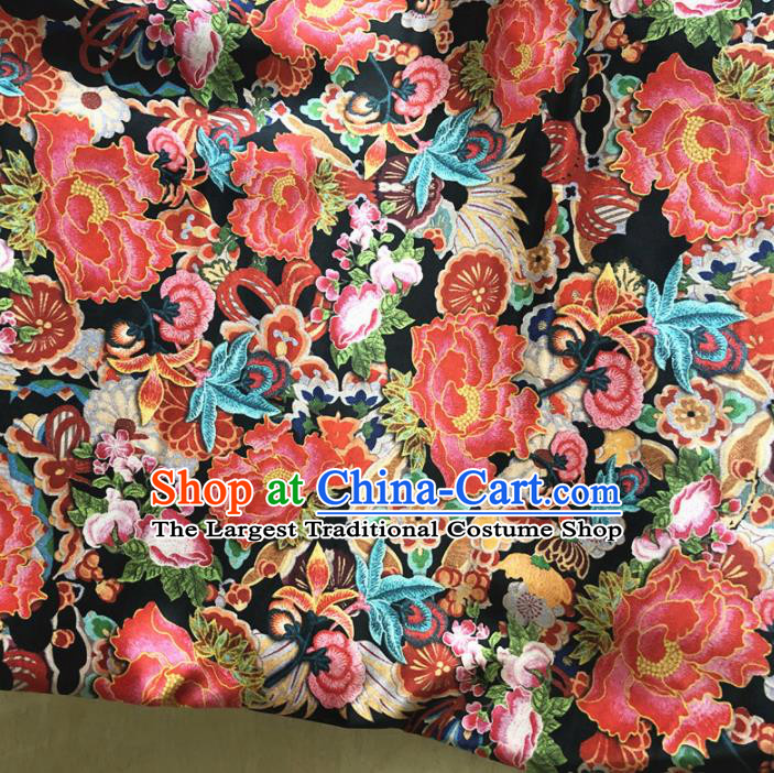 Asian Chinese Traditional Embroidered Peony Pattern Design Brocade Fabric Silk Fabric Chinese Fabric Asian Material