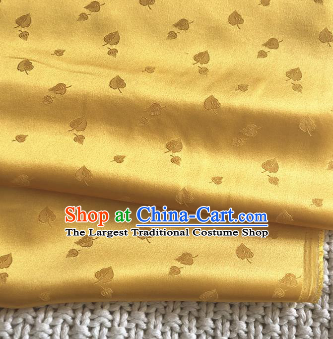 Asian Chinese Traditional Leaf Pattern Design Golden Brocade Fabric Silk Fabric Chinese Fabric Asian Material