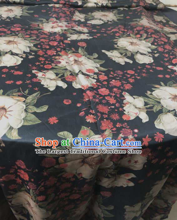 Asian Chinese Traditional Flowers Pattern Design Black Brocade Fabric Silk Fabric Chinese Fabric Asian Material