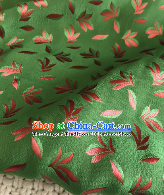 Asian Chinese Traditional Leaf Pattern Design Green Brocade Fabric Silk Fabric Chinese Fabric Asian Material