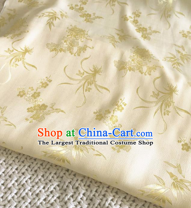 Asian Chinese Traditional Bamboo Orchid Plum Chrysanthemum Pattern Design Yellow Brocade Fabric Silk Fabric Chinese Fabric Asian Material
