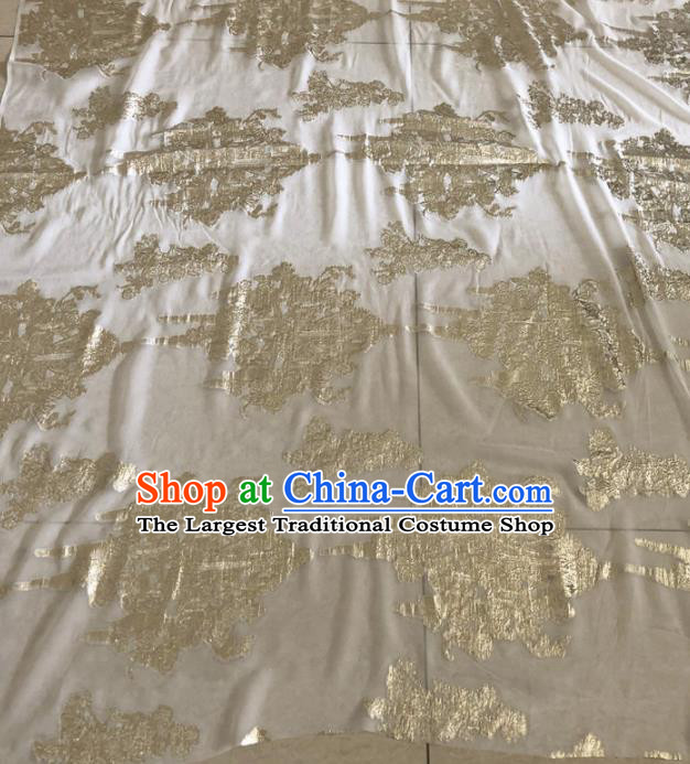Asian Chinese Traditional Pattern Design Light Golden Brocade Fabric Silk Fabric Chinese Fabric Asian Material