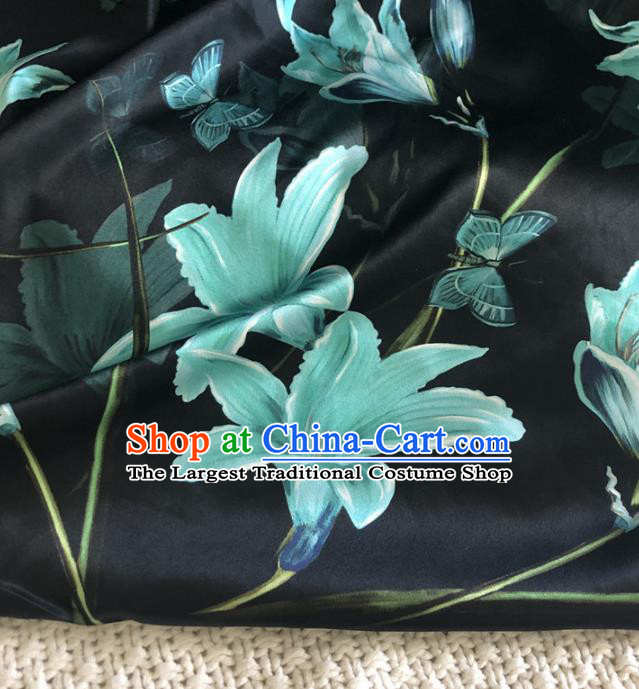 Asian Chinese Traditional Lily Flowers Pattern Design Black Brocade Fabric Silk Fabric Chinese Fabric Asian Material