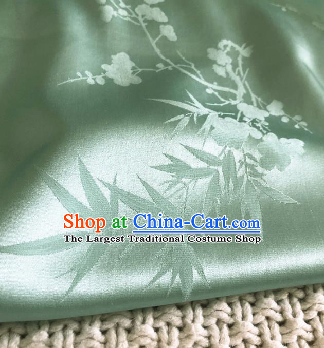 Asian Chinese Traditional Plum Bamboo Pattern Design Green Brocade Fabric Silk Fabric Chinese Fabric Asian Material