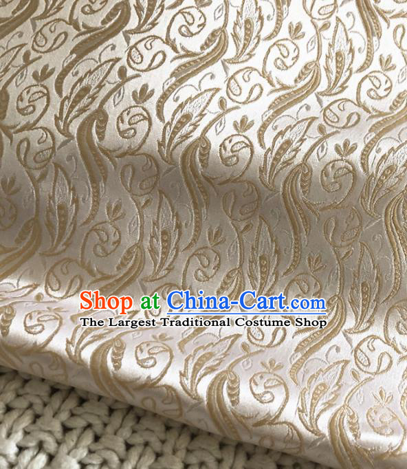 Asian Chinese Traditional Grass Pattern Design White Brocade Fabric Silk Fabric Chinese Fabric Asian Material