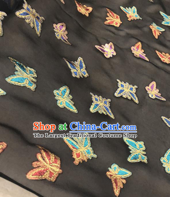 Asian Chinese Traditional Embroidered Butterfly Pattern Design Black Brocade Fabric Silk Fabric Chinese Fabric Asian Material