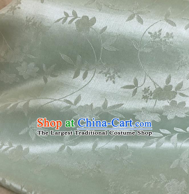 Asian Chinese Traditional Flowers Pattern Design Light Green Brocade Fabric Silk Fabric Chinese Fabric Asian Material