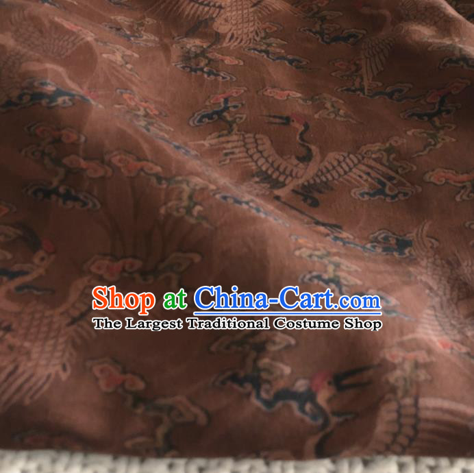 Asian Chinese Traditional Cranes Pattern Design Brown Brocade Fabric Silk Fabric Chinese Fabric Asian Material