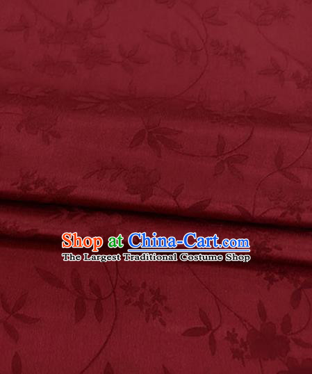 Asian Chinese Traditional Twine Flowers Pattern Design Wine Red Brocade Fabric Silk Fabric Chinese Fabric Asian Material