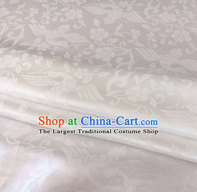 Asian Chinese Traditional Bird Flowers Pattern Design White Brocade Fabric Silk Fabric Chinese Fabric Asian Material