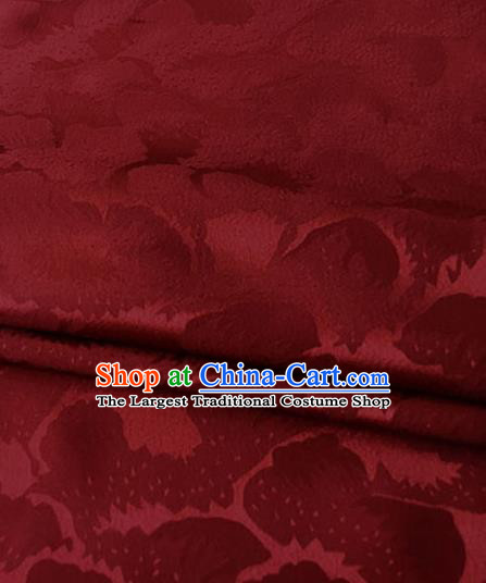 Asian Chinese Traditional Pattern Design Wine Red Brocade Fabric Silk Fabric Chinese Fabric Asian Material