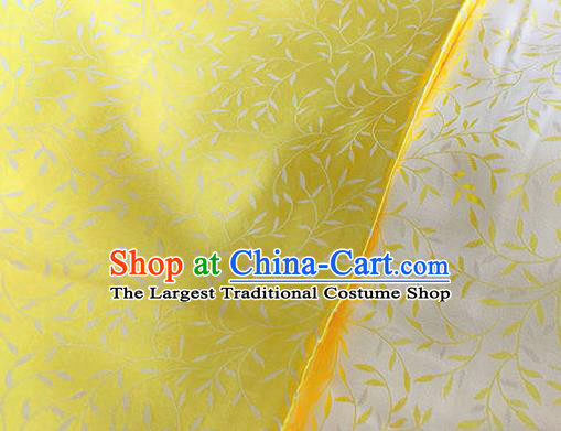Asian Chinese Traditional Willow Branch Pattern Design Yellow Brocade Fabric Silk Fabric Chinese Fabric Asian Material
