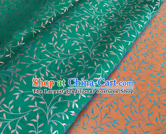 Asian Chinese Traditional Willow Branch Pattern Design Green Brocade Fabric Silk Fabric Chinese Fabric Asian Material